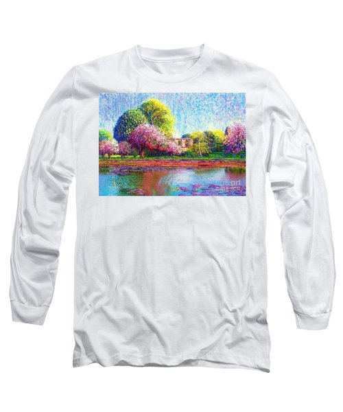 Long Sleeve T-Shirt featuring the painting Glastonbury Abbey Lily Pool by Jane Small