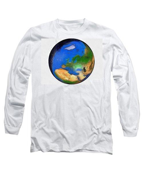 Globe 3d Picture Long Sleeve T-Shirt by Georgi Dimitrov