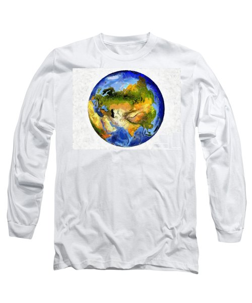 Globe World Map Long Sleeve T-Shirt by Georgi Dimitrov