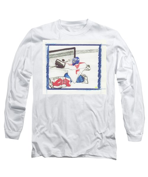 Long Sleeve T-Shirt featuring the drawing Goalie By Jrr by First Star Art