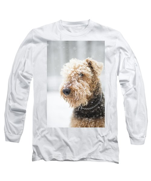 Dog's Portrait Under The Snow Long Sleeve T-Shirt