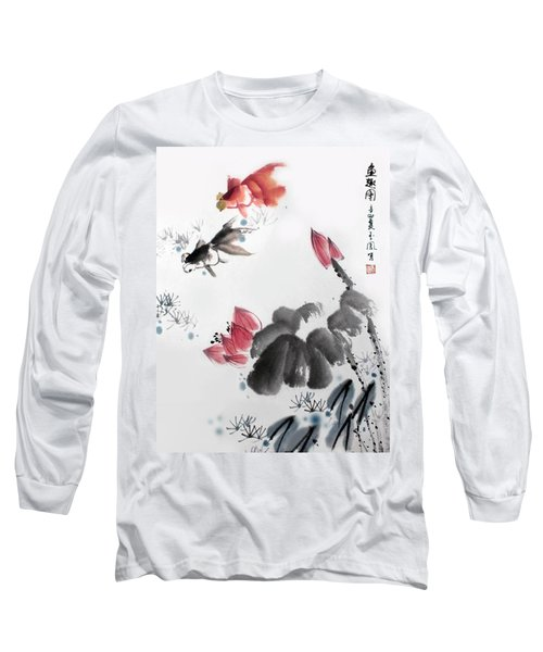 Long Sleeve T-Shirt featuring the photograph Gold Fish In Lotus Pond by Yufeng Wang
