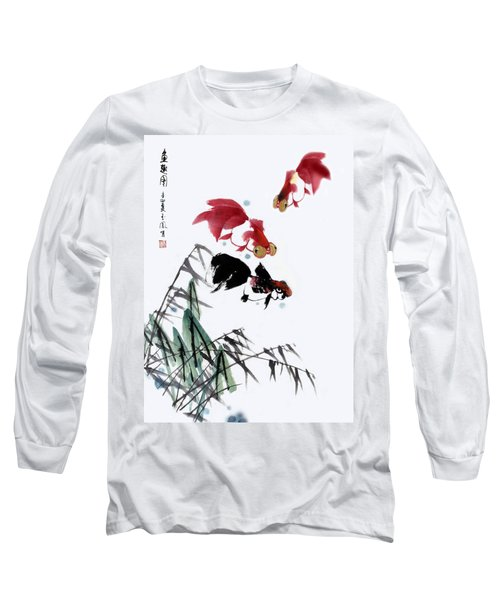 Long Sleeve T-Shirt featuring the painting Gold Fish by Yufeng Wang