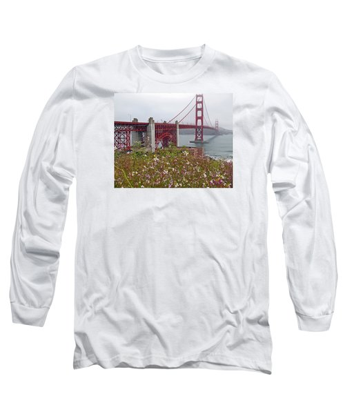 Golden Gate Bridge And Summer Flowers Long Sleeve T-Shirt by Connie Fox
