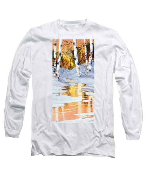 Long Sleeve T-Shirt featuring the painting Golden Winter by Teresa Ascone