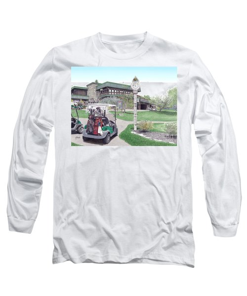 Long Sleeve T-Shirt featuring the painting Golf Seven Springs Mountain Resort by Albert Puskaric