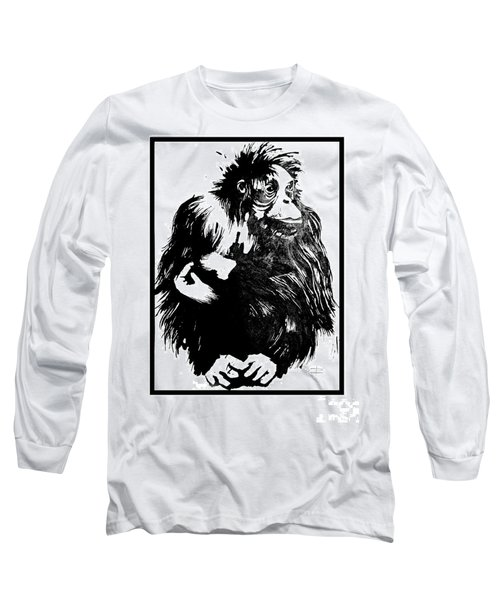 Long Sleeve T-Shirt featuring the drawing Gorilla Ina Box by Paul Davenport