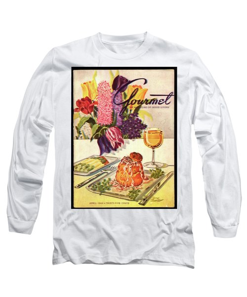 Gourmet Cover Featuring Sweetbread And Asparagus Long Sleeve T-Shirt by Henry Stahlhut
