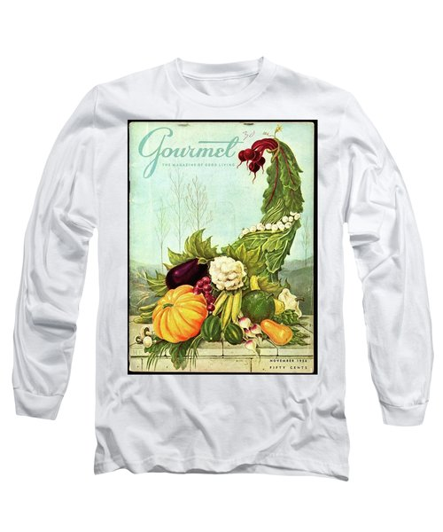Gourmet Cover Illustration Of A Cornucopia Long Sleeve T-Shirt