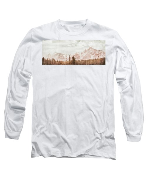 Long Sleeve T-Shirt featuring the painting Grand Teton Mountains by Greg Collins