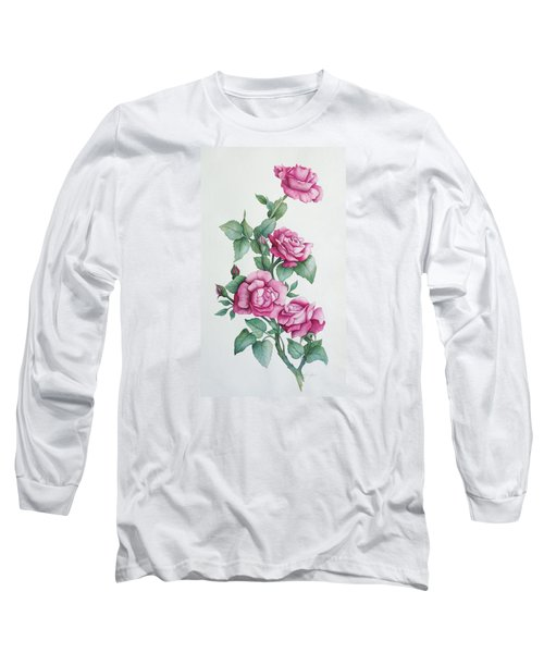 Long Sleeve T-Shirt featuring the painting Grandma Helen's Roses by Katherine Young-Beck