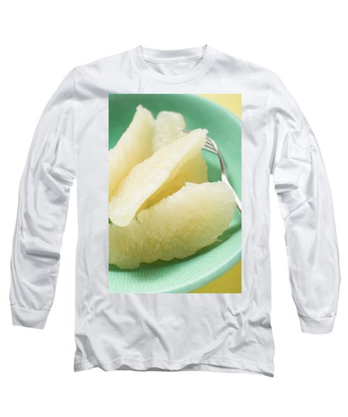 Grapefruit Segments On Plate With Fork Long Sleeve T-Shirt