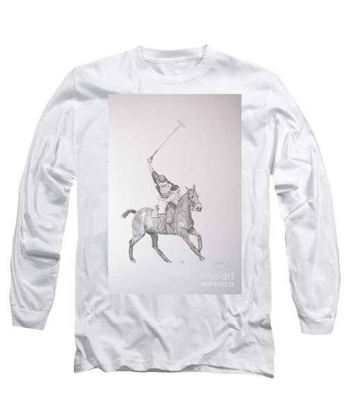 Graphite Drawing - Shooting For The Polo Goal Long Sleeve T-Shirt