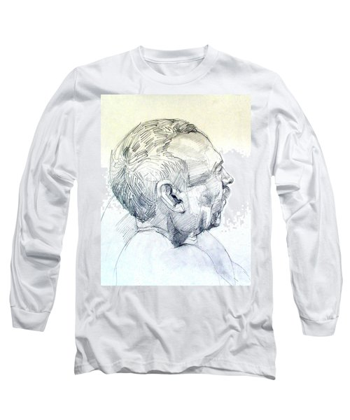 Long Sleeve T-Shirt featuring the drawing Graphite Portrait Sketch Of A Man In Profile by Greta Corens