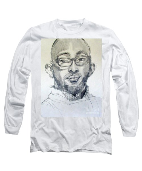 Long Sleeve T-Shirt featuring the drawing Graphite Portrait Sketch Of A Young Man With Glasses by Greta Corens