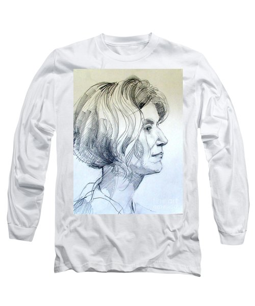 Portrait Drawing Of A Woman In Profile Long Sleeve T-Shirt by Greta Corens