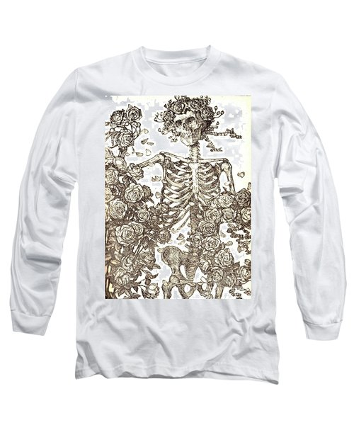 Gratefully Dead Skeleton Long Sleeve T-Shirt by Kelly Awad
