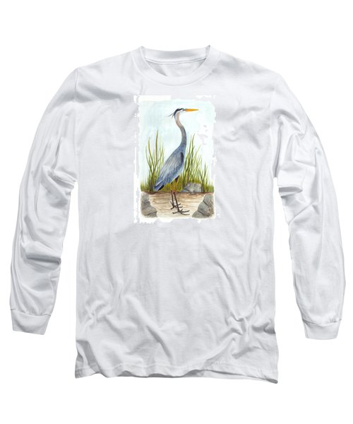 Great Blue Heron Long Sleeve T-Shirt by Cindy Hitchcock