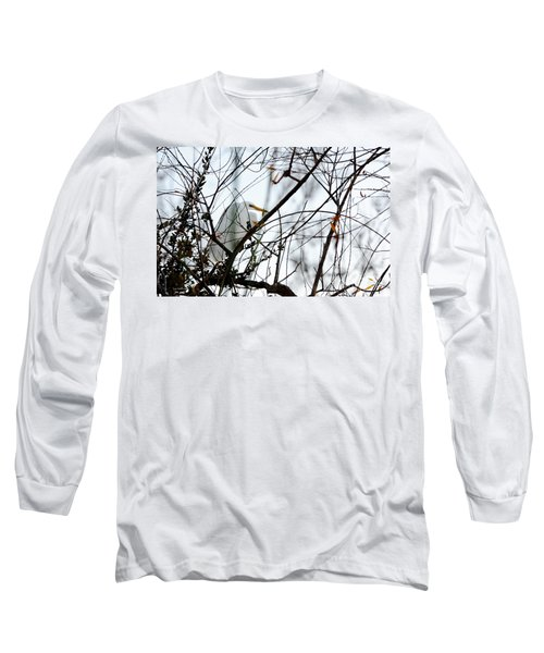 Long Sleeve T-Shirt featuring the photograph Great Egret Roosting In Winter by Susan Wiedmann