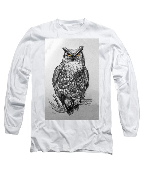 Great Horned Owl Black And White Long Sleeve T-Shirt