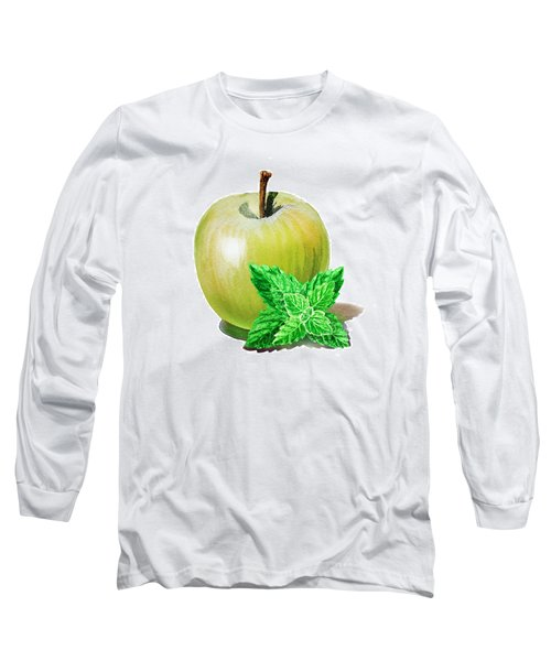 Green Apple And Mint Long Sleeve T-Shirt by Irina Sztukowski