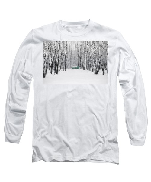 Green Bench Long Sleeve T-Shirt by Alexander Senin