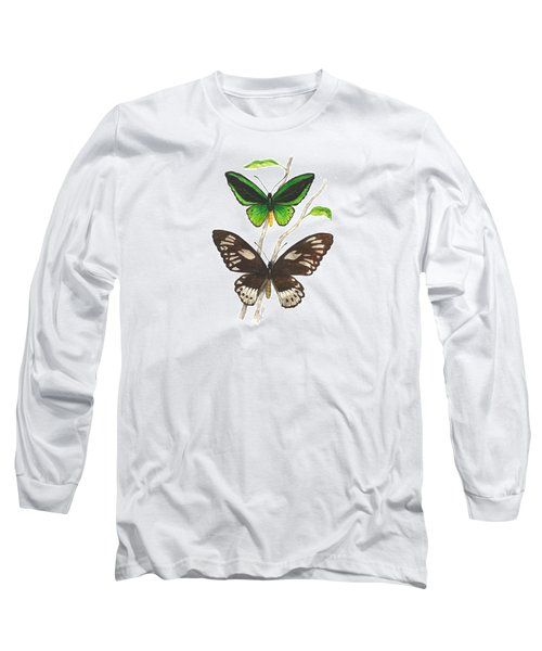 Green Birdwing Butterfly Long Sleeve T-Shirt by Cindy Hitchcock