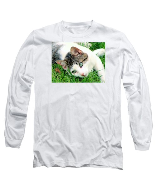 Long Sleeve T-Shirt featuring the photograph Green Eyed Cat by Janette Boyd