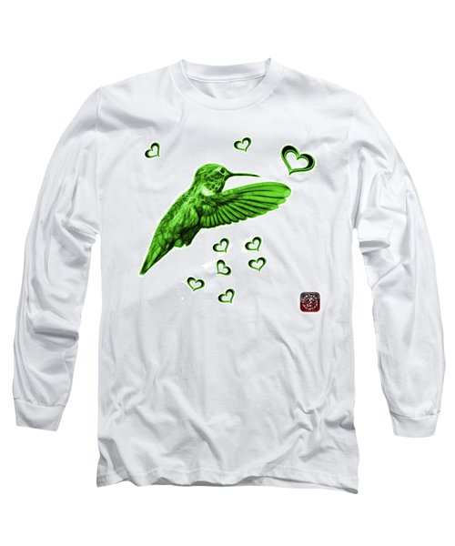 Long Sleeve T-Shirt featuring the digital art Green Hummingbird - 2055 F S M by James Ahn