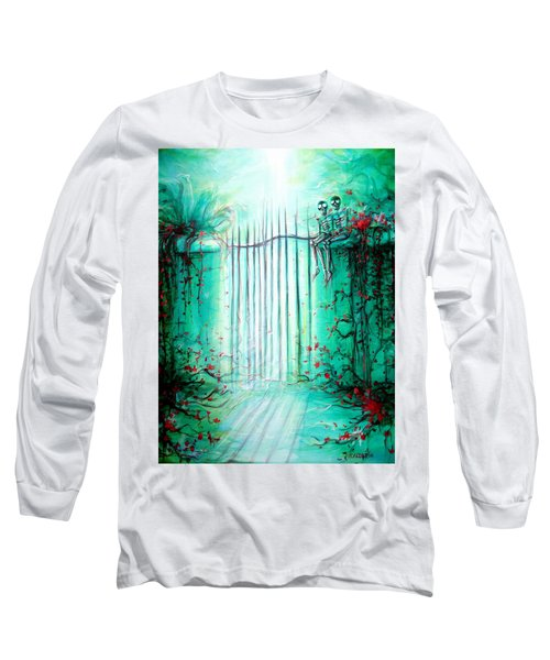 Long Sleeve T-Shirt featuring the painting Green Skeleton Gate by Heather Calderon