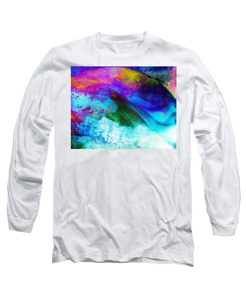Long Sleeve T-Shirt featuring the painting Green Wave - Vibrant Artwork by Lilia D