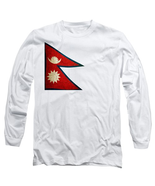 Grunge Nepal Flag Long Sleeve T-Shirt