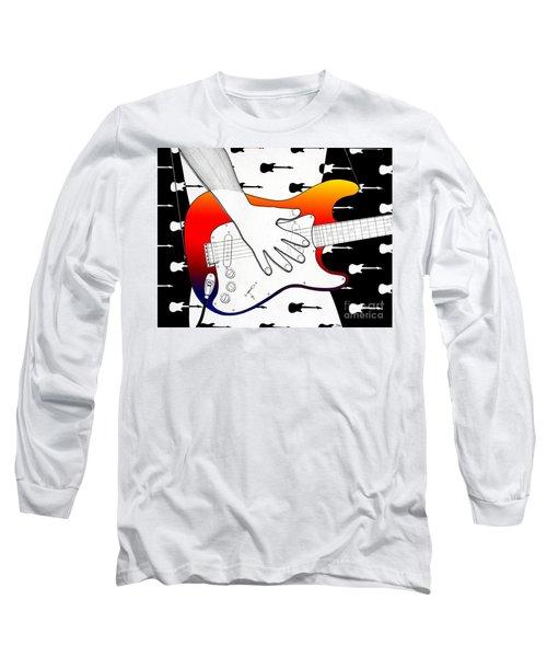 Long Sleeve T-Shirt featuring the drawing Guitar 1 by Joseph J Stevens