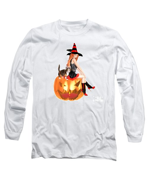 Halloween Witch Nicki With Kitten Long Sleeve T-Shirt