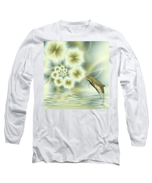 Happy Dolphin In A Surreal World Long Sleeve T-Shirt by Gabiw Art