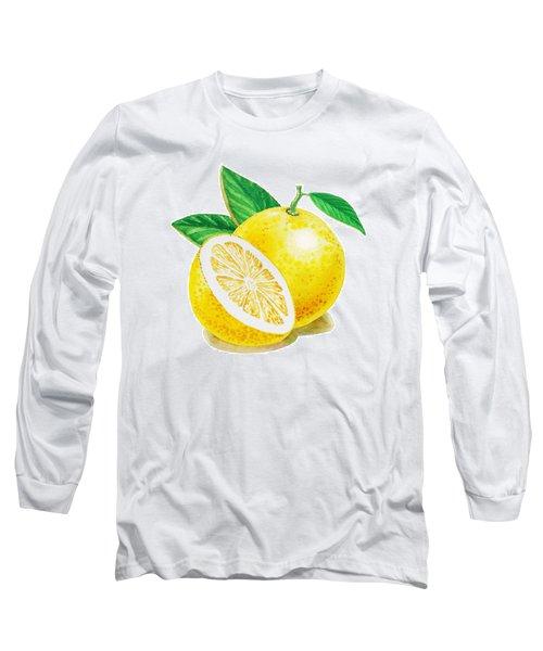 Long Sleeve T-Shirt featuring the painting Happy Grapefruit- Irina Sztukowski by Irina Sztukowski