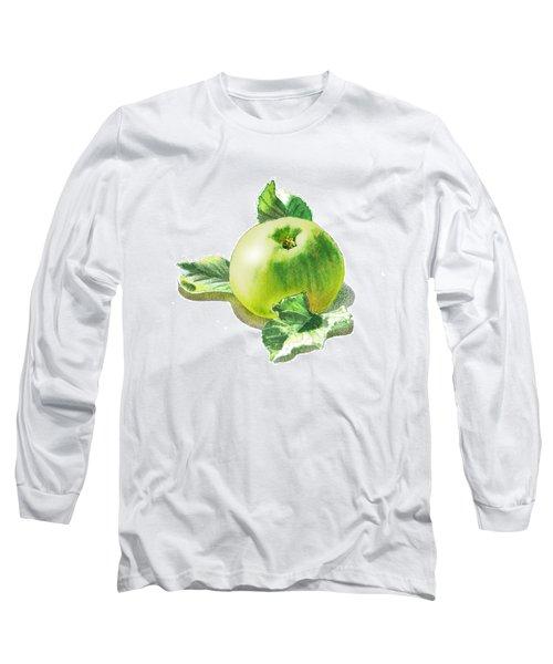 Long Sleeve T-Shirt featuring the painting Happy Green Apple by Irina Sztukowski