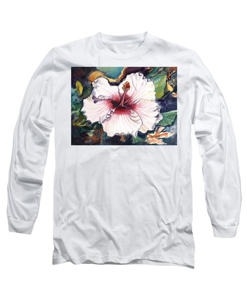 Long Sleeve T-Shirt featuring the painting Happy Hawaiian Hibiscus by Marionette Taboniar