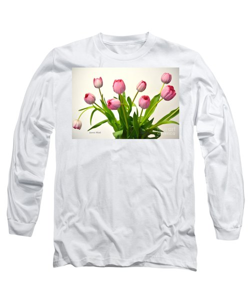Long Sleeve T-Shirt featuring the digital art Happy Spring Pink Tulips 2 by Jeannie Rhode