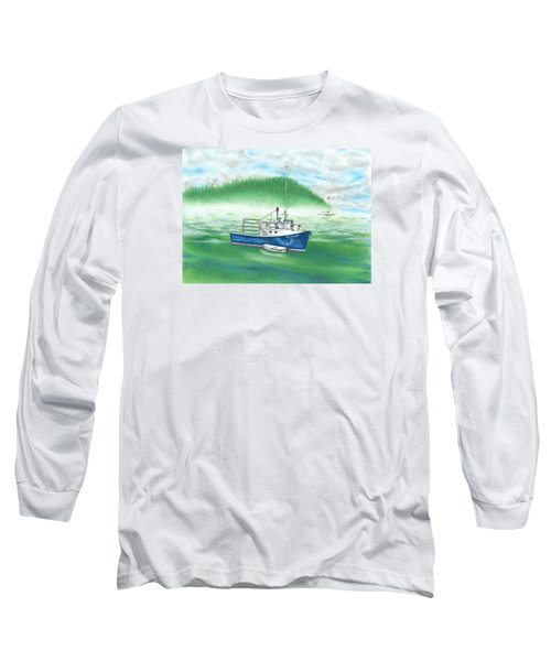 Long Sleeve T-Shirt featuring the drawing Harbor by Troy Levesque