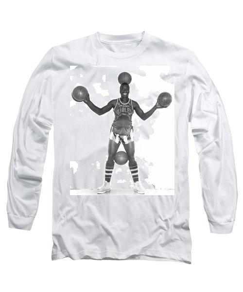 Harlem Globetrotters Player Long Sleeve T-Shirt by Underwood Archives