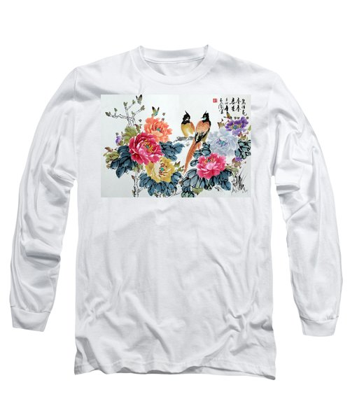 Long Sleeve T-Shirt featuring the painting Harmony And Lasting Spring by Yufeng Wang