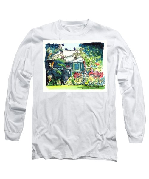 Long Sleeve T-Shirt featuring the painting Hawaiian Cottage 3 by Marionette Taboniar