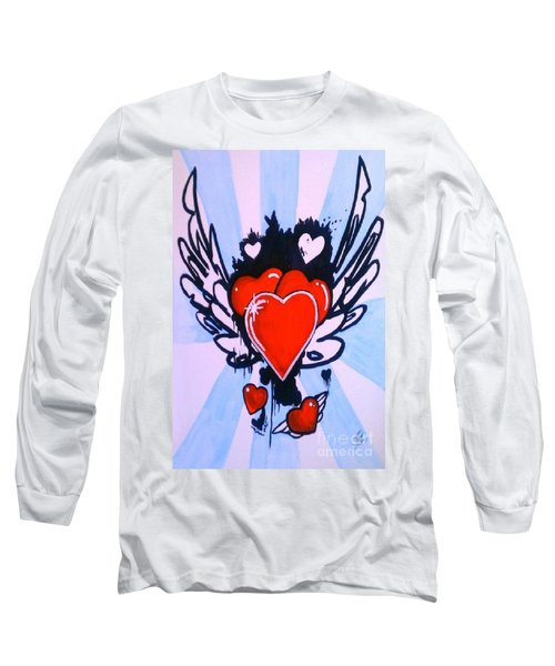 Long Sleeve T-Shirt featuring the painting Hearts by Marisela Mungia
