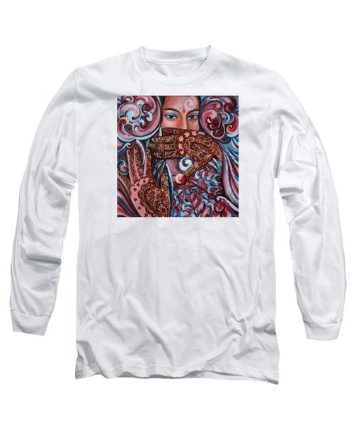 Long Sleeve T-Shirt featuring the painting Henna by Harsh Malik