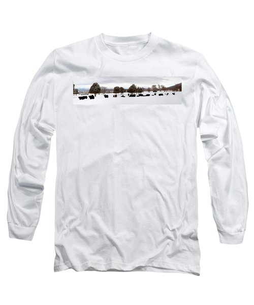Herd Of Yaks Bos Grunniens On Snow Long Sleeve T-Shirt by Panoramic Images