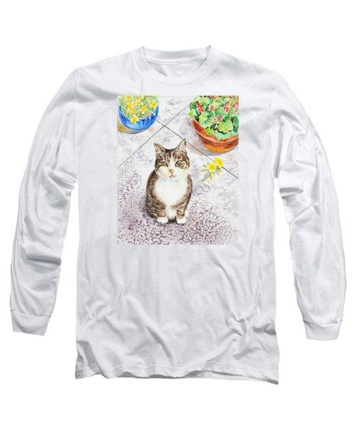 Here Kitty Kitty Kitty Long Sleeve T-Shirt by Irina Sztukowski