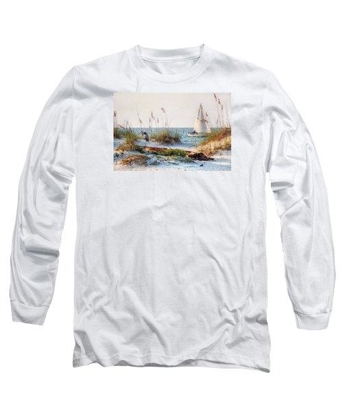 Heron And Sailboat Long Sleeve T-Shirt by Michael Thomas