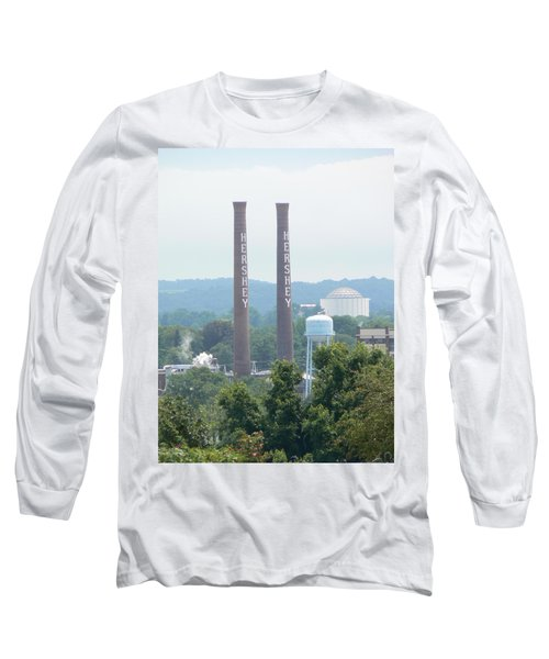 Long Sleeve T-Shirt featuring the photograph Hershey Smoke Stacks by Michael Porchik