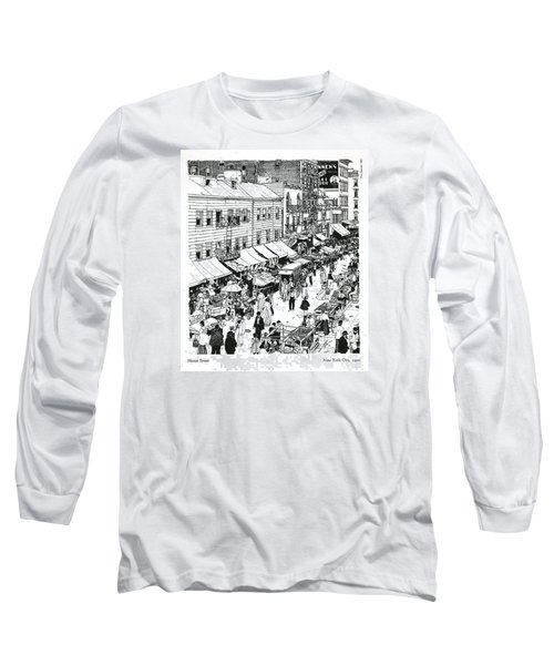 Long Sleeve T-Shirt featuring the drawing Hester Street by Ira Shander